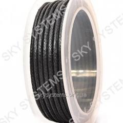 3.0 мм Гладкий вощеный шнур Скай | Цвет: Черный 01