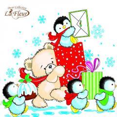 Салфетка ТМ La Fleur 33х33,  Пингвины