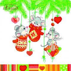 Салфетка ТМ La Fleur 33х33,  Праздник у мышек