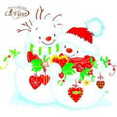 Салфетка ТМ La Fleur 33х33,  Снежная любовь
