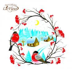 Салфетка ТМ La Fleur 33х33,  Снегири