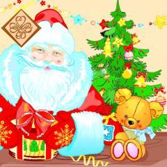 Салфетка ТМ Luxy 33х33, Дед Мороз и мишка