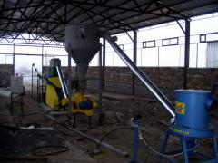 Линия для производства топливных брикетов (Отходы древесины диаметром до 60 мм, до 35%) 500 кг/час