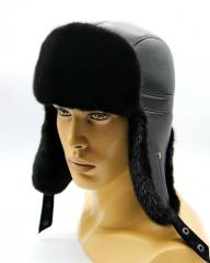 Меховая шапка ушанка из норки и кожи