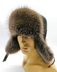Зимняя мужская шапка Ушанка из меха енота