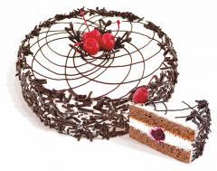 """Dort, """"opilé třešně"""" sušenky krém s přídavkem kakaového sirupu impregnovaného a potažené přidáním zakysanou smetanou alcoholized třešní. Hmotnost: 650 g, 1,2 kg."""