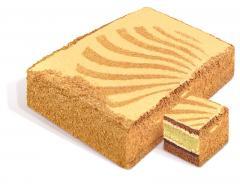"""Dort """"Zlatý klíč"""" suchar, každá vrstva je pokryta vařené máslo smetana kondenzovaným mlékem, zdobené vzory sušenek drobky. Hmotnost: 2 kg. GOST."""