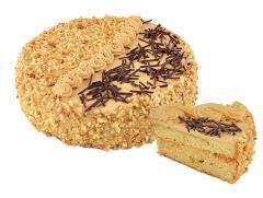 Торт «Каприз» бисквитный с маком, покрыт сливочным кремом с добавкой сгущенного молока и посыпан изюмом с арахисом. Вес: 0,5 кг., 1 кг.