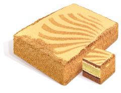 """Bolo """"chave de ouro"""" biscuit, cada camada é coberta com leite cozido creme de manteiga condensado, decorado com padrões de farelos de biscoito. Peso: 2 kg. GOST."""