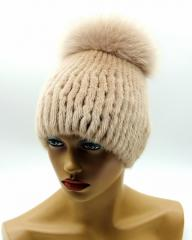 "Mink hat ""ball"" on a knitted"
