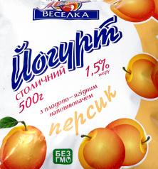 Йогурты фруктовые 1,5% пленка, йогурт 0,5л персик