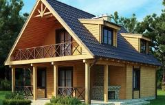 Wooden house with beams