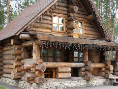Wooden house with wild carcass