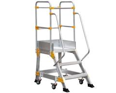 Aluminum ladder with the VIRASTAR platform of 2+1