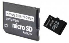 The microsd adapter on ms pro duo (under a memory