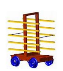 Trolleys are drying. A trolley for drying of a
