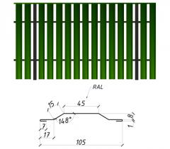 Евроштакетник Сталекс сторона A 0,45 Pema RAL 6005