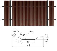 Евроштакетник Сталекс сторона B 0,45 PE RAL 8017