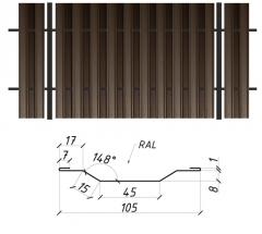 Евроштакетник Сталекс сторона B 0,45 Pema RAL 8019