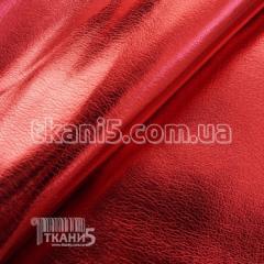 Ткань Кожзам на хб основе блестящий (красный)