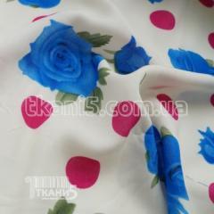 Ткань Штапель принт (горох и розы)
