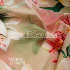 Fabric Shtapel print tulip (beige background) 4864