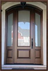 Doors entrance glass Lviv, wooden glass entrance