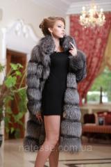 Шуба полушубок жилет из чернобурки silver fox fur coat vest gilet sleeveless over coat