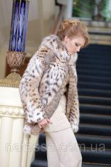 Шуба полушубок из рыси с капюшоном hooded lynx fur coat