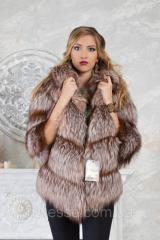 Short fur coat a vest from the gilded silver fox Rita of silver fox fur coat jacket vest gile