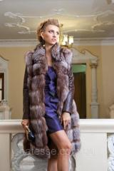 "Шуба из чернобурки ""Камилла"" silver fox fur coat jacket vest gilet"