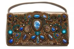 Leather handbag with ammonites and lazurite