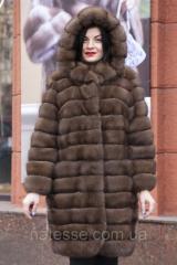 """Шуба из российского соболя цвета Тортора """"Миранда"""" длина до колена sable jacket fur coat"""
