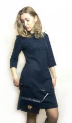 Темно-синее коктейльное платье П214