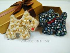 """Brooch from beads """"dog"""""""