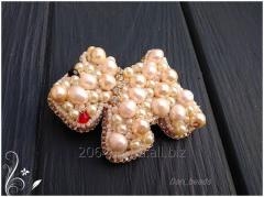 """Brooch from beads """"the pearl friend"""""""