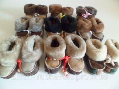 Baby booties, leather