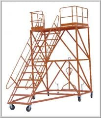 The ladder is office, aviation, passenger