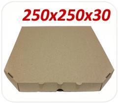 Коробка под пиццу, 25 см, бурая
