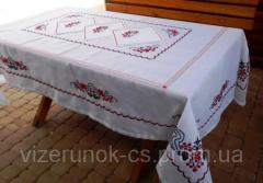Set embroidered tablecloth with napkins with...