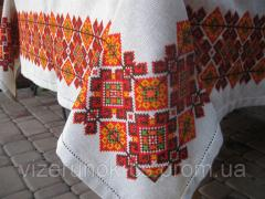 Льняная вышитая скатерть Карпаты Ручная работа