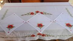 Embroidered tablecloth handmade Poppies on a large