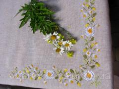 Embroidered tablecloth handmade linen Camomile field