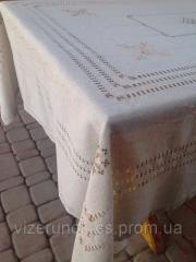 Linen embroidered tablecloth with napkins Elegance