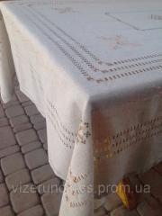 Leinen bestickt Tischdecke mit Servietten Elegance