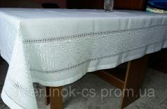 White tablecloth embroidered with silk...