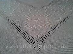 Linen tablecloth handmade embroidered with silk thread Pearl
