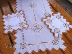 Set embroidered handmade White Fine