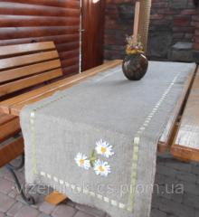 Runner, track dining burlap embroidered with satin ribbons Daisies