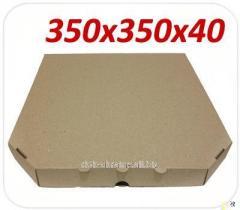 Упаковка картонная для пиццы 35 см, бурая